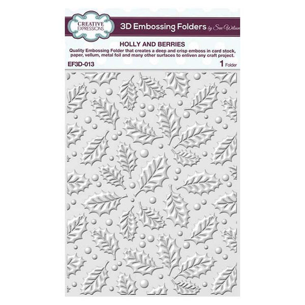 Creative Expressions Embossing Folder 3D 5 3/4 x 7 1/2 Holly & Berries