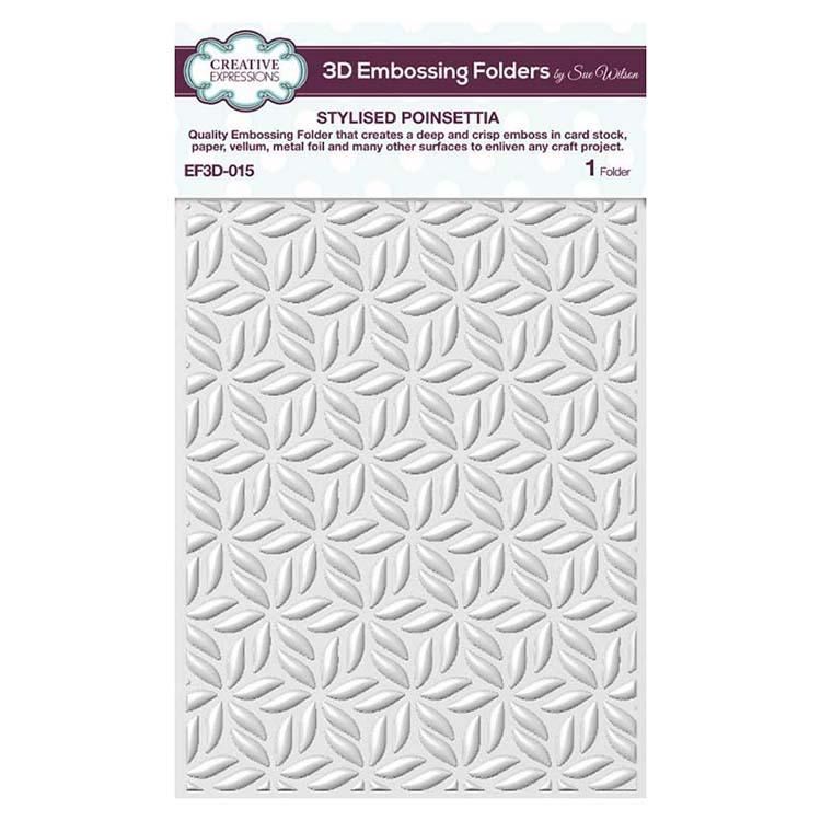 Creative Expressions Embossing Folder 3D 5 3/4 x 7 1/2 Stylised Poinsettia