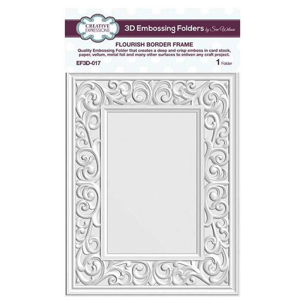 Creative Expressions Embossing Folder 3D 5 3/4 x 7 1/2 Flourish Border Frame