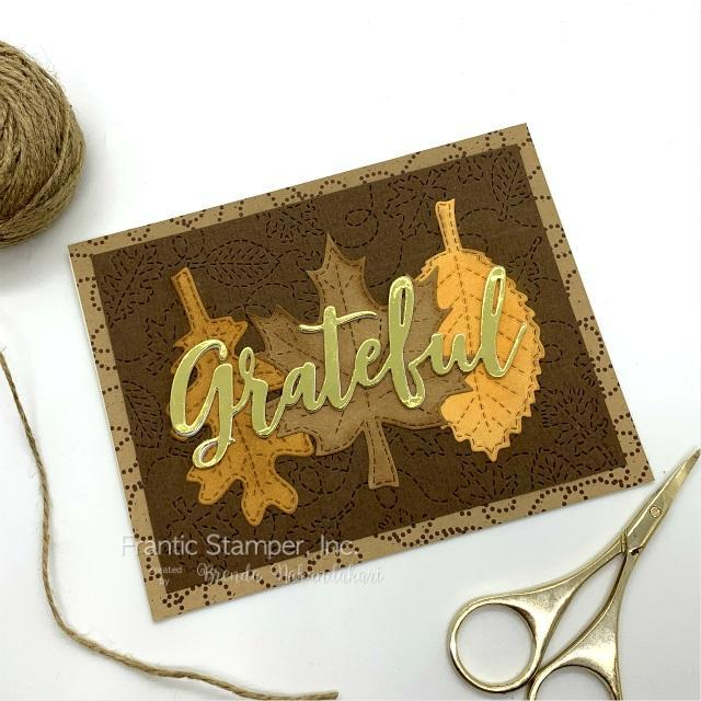 Frantic Stamper Precision Die - Swirling Leaves Stitched Background