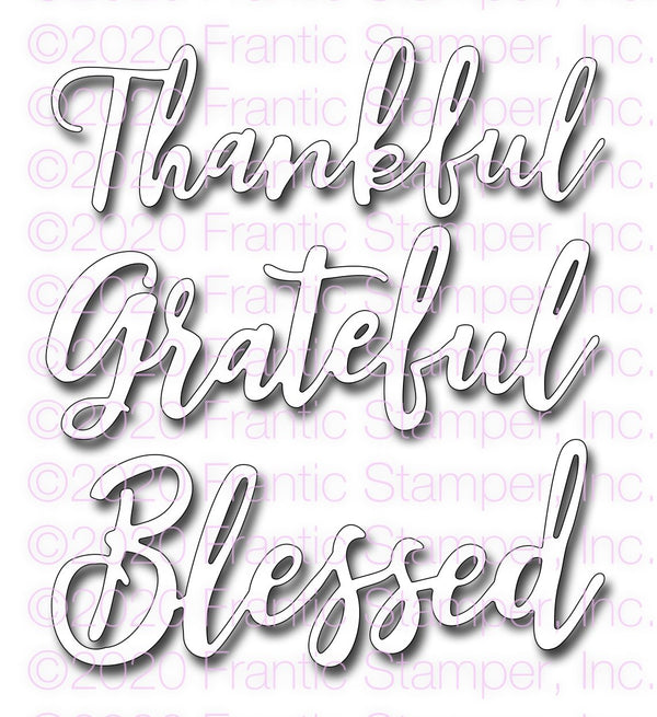 Frantic Stamper Precision Die - Scripty Thankful Grateful Blessed
