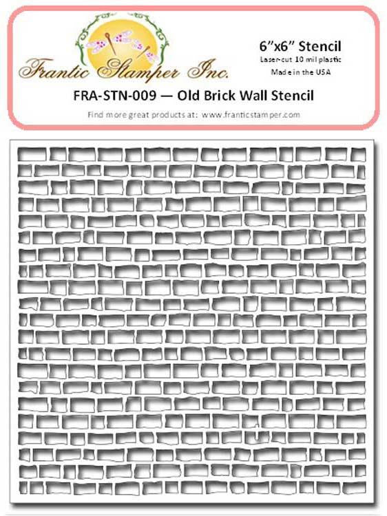 "Frantic Stamper - 6""x6"" Stencil - Old Brick Wall"