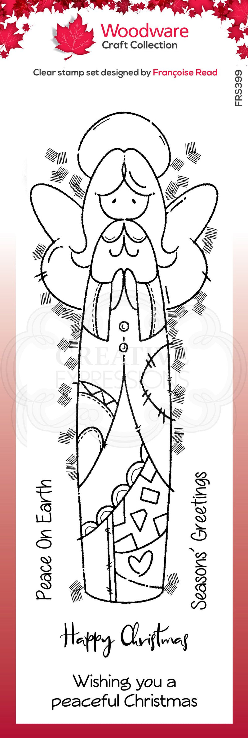Woodware Clear Singles Patch Angel 4 in x 6 in Stamp