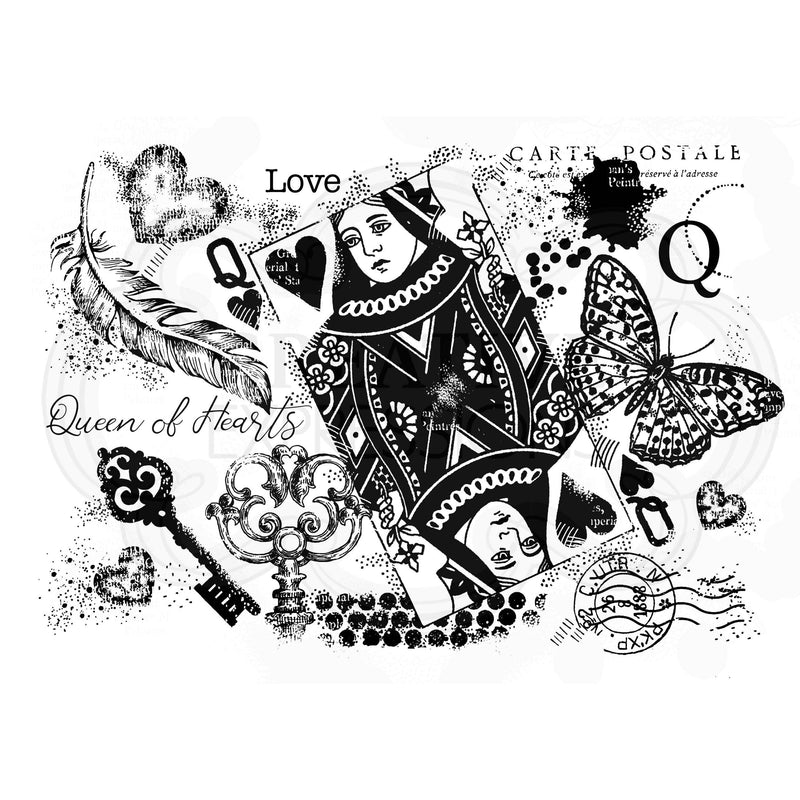 Woodware Clear Singles Queen of Hearts 4 in x 6 in Stamp