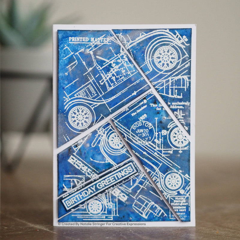 Woodware Clear Singles Blueprint Background 4 in x 6 in Stamp