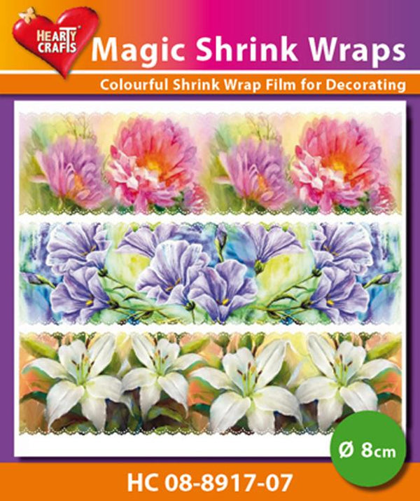 Hearty Crafts Magic Shrink Wraps. Painted Flowers  (8cm)