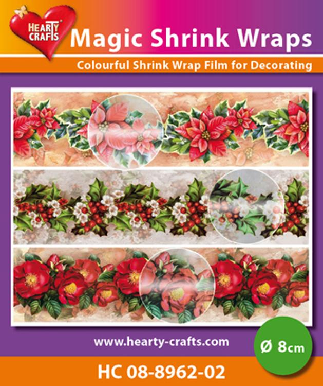 Hearty Crafts Magic Shrink Wraps. Metallic-mas Flowers  (8cm)
