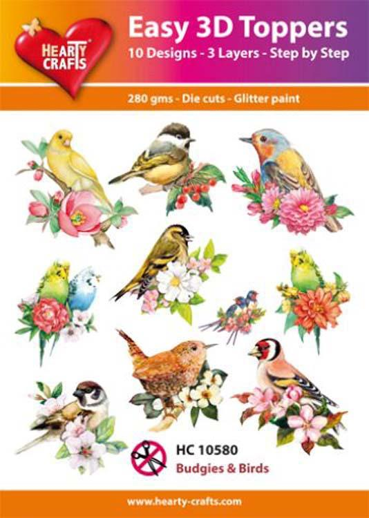 Hearty Crafts Easy 3D Toppers Budgies and Birds