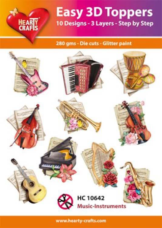 Hearty Crafts Easy 3D Toppers - Music-Instruments