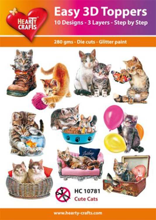 Hearty Crafts Easy 3D Toppers - Cute Cats