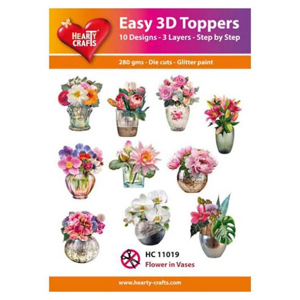 Hearty Crafts Easy 3D Toppers Flower in Vases