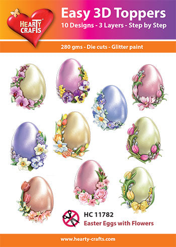 Hearty Crafts Easy 3D Toppers - Easter Eggs with Flowers