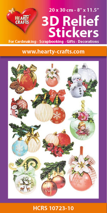 Hearty Crafts 3D Relief Stickers A4 - Christmas Balls