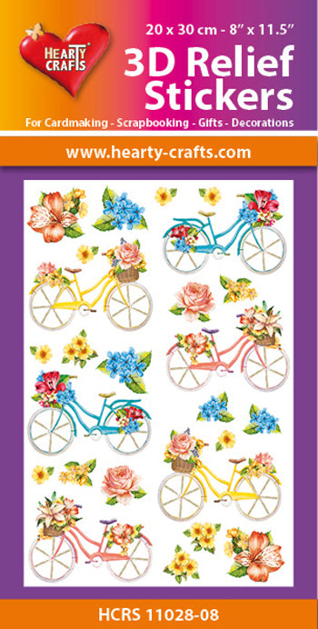 Hearty Crafts 3D Relief Stickers A4 - Bicycles