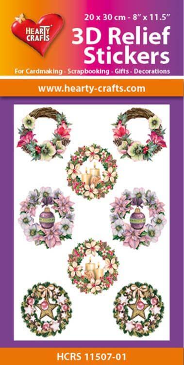 Hearty Crafts 3D Relief Stickers A4 - Christmas Wreaths 1