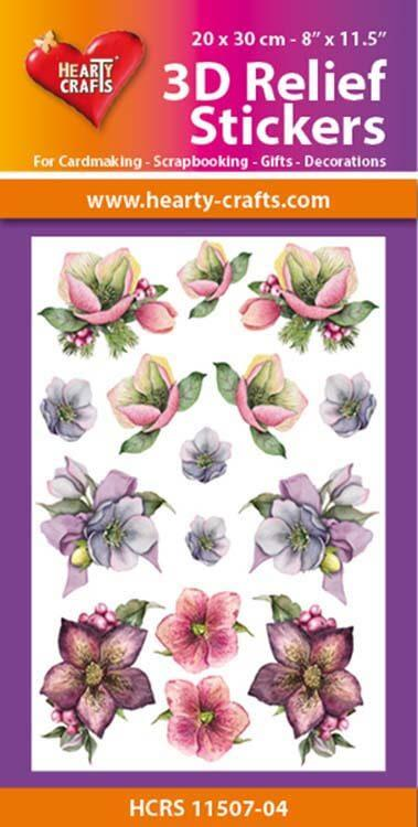 Hearty Crafts 3D Relief Stickers A4 - Christmas Flowers 2