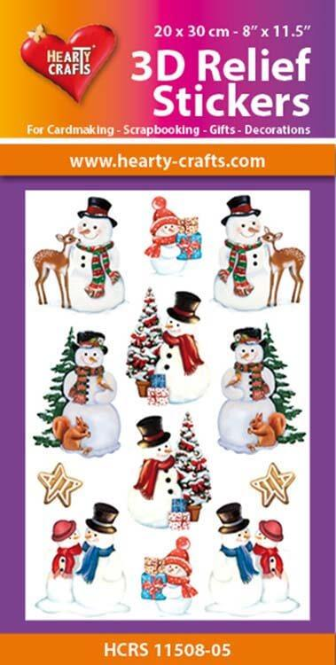 Hearty Crafts 3D Relief Stickers A4 - Christmas Snowmen