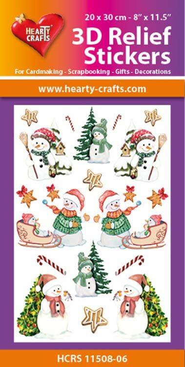 Hearty Crafts 3D Relief Stickers A4 - Christmas Snowmen 2