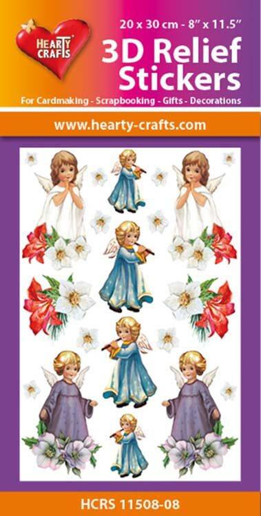 Hearty Crafts 3D Relief Stickers A4 - Christmas Angels