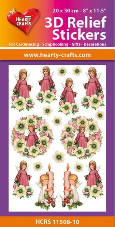 Hearty Crafts 3D Relief Stickers A4 - Little Angels/Flowers