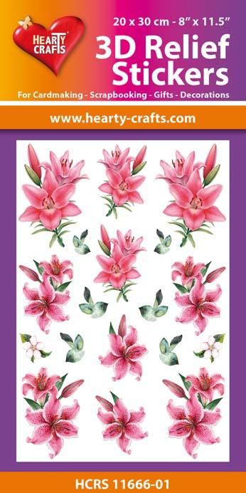 3D Relief Stickers A4 - Lillies 1