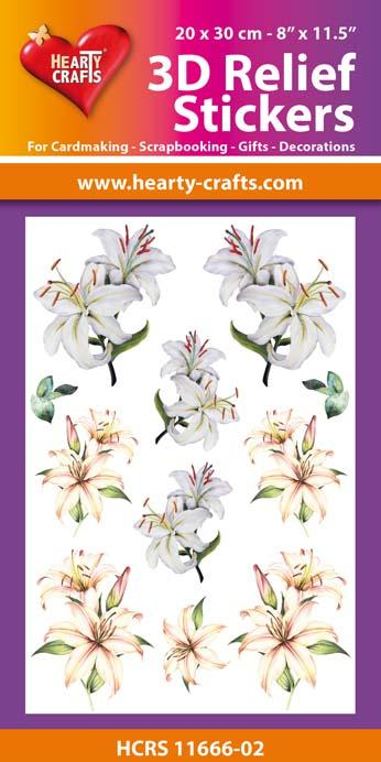 3D Relief Stickers A4 - Lillies 2