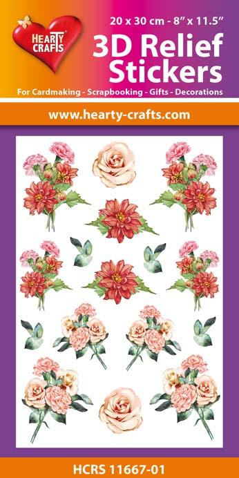3D Relief Stickers A4 - Bouquets of Carnations 1