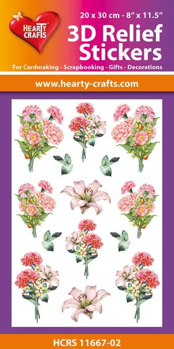 3D Relief Stickers A4 - Bouquets of Carnations 2