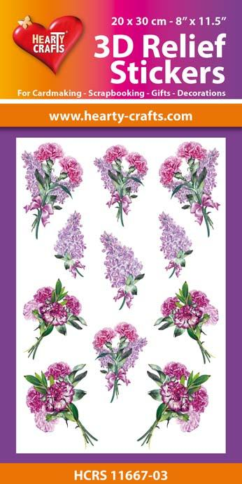 3D Relief Stickers A4 - Bouquets of Carnations 3