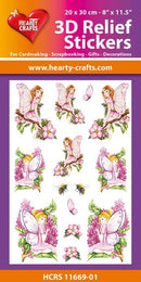 3D Relief Stickers A4 - Garden Fairies 1