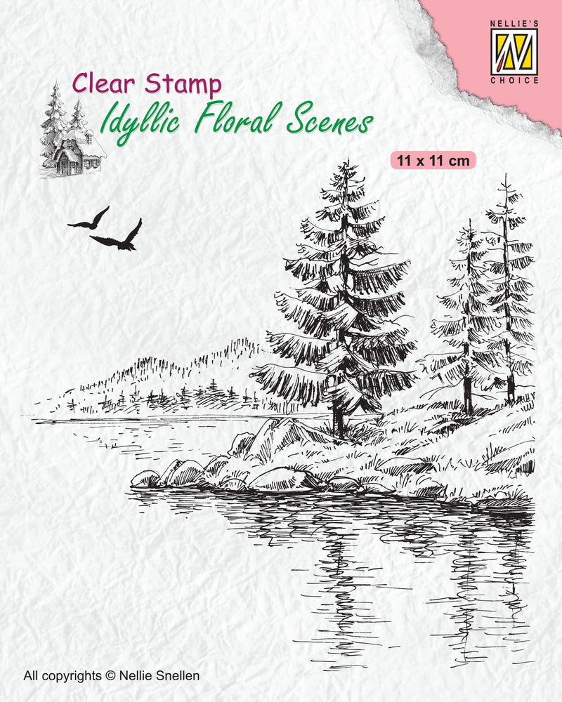 Idyllic Floral Scene Stamp Wintery Water's Edge