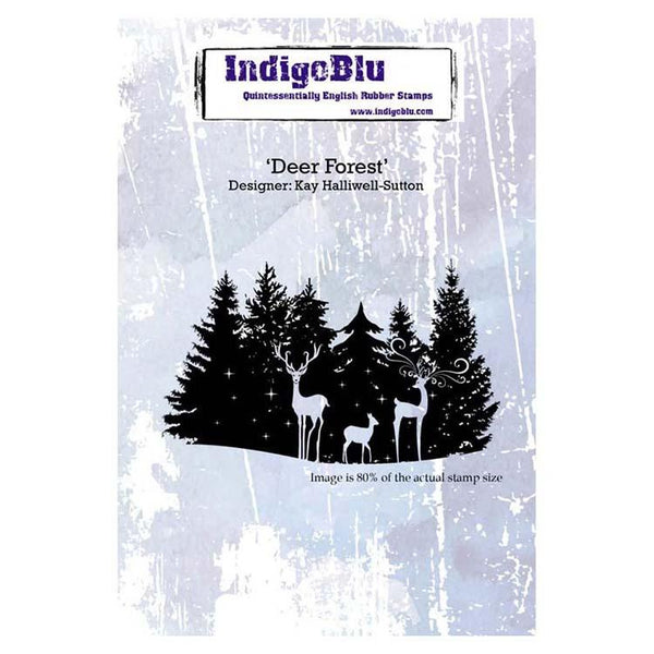 Indigoblu Deer Forest A6 Red Rubber Stamp