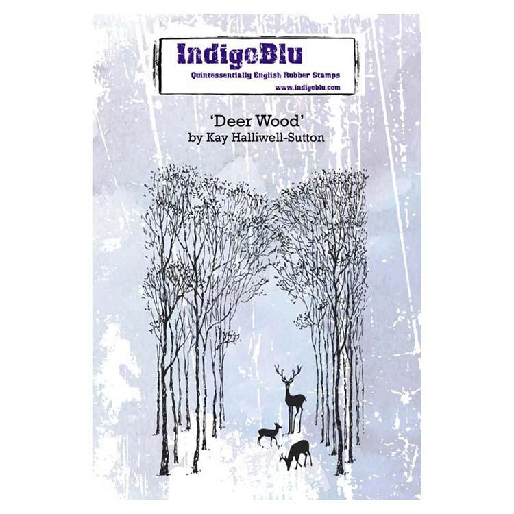 Indigoblu Deer Wood A6 Red Rubber Stamp