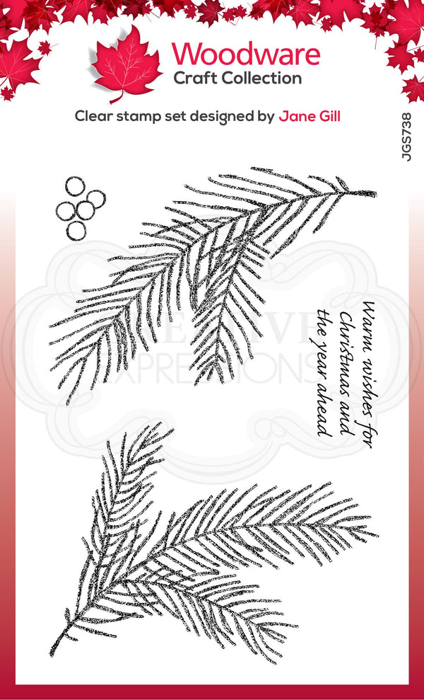 Sketchy Pine Branch 4 in x 6 in Stamp