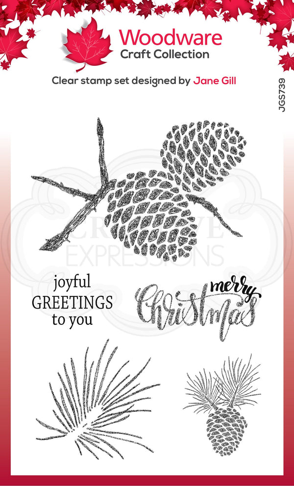 Sketchy Pine Cones 4 in x 6 in Stamp