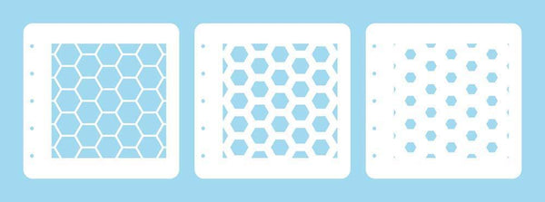 Layered combi stencil set (set of 3) Honeycomb