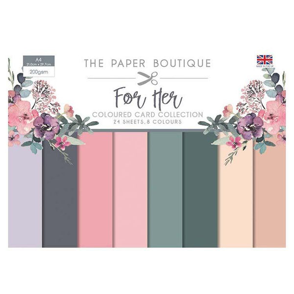 The Paper Boutique For Her Colour Card Collection A4 24 Sheets 8 Colours 200gsm