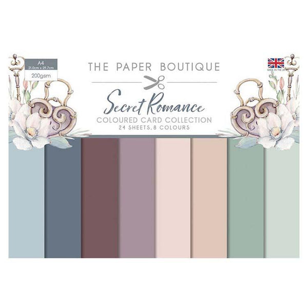 The Paper Boutique Secret Romance Colour Card Collection A4 24 Sheets 8 Colours 200gsm