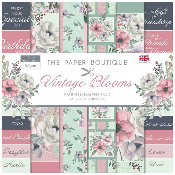 Vintage Blooms 8x8 Embellishments Pad