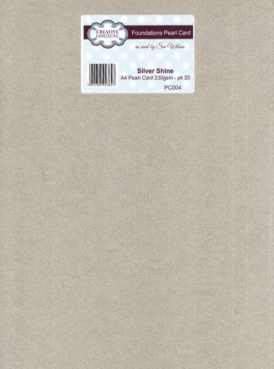 Foundation A4 Pearl Cardstock 230gsm pk 20 - Silver Shine