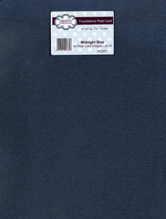 Foundation A4 Pearl Cardstock 230gsm pk 20 - Midnight Blue