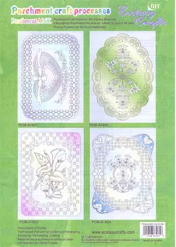 Ecstasy Crafts Parchment Patterns Preprinted - Flowers/Frames