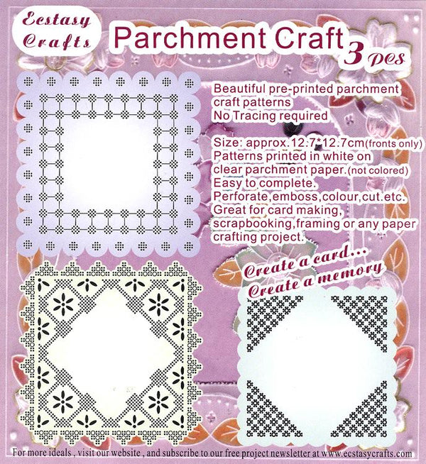 3 Parchment Patterns -Square Frame