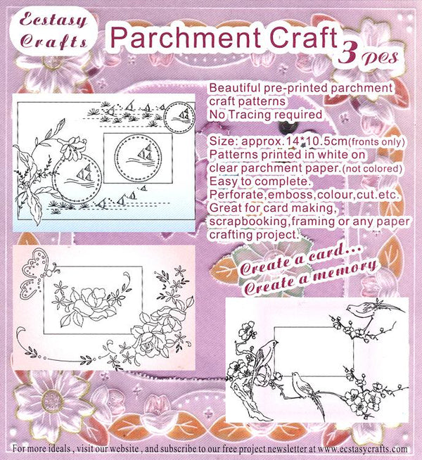 3 Parchment Patterns -Butterfly, Birds, Fish