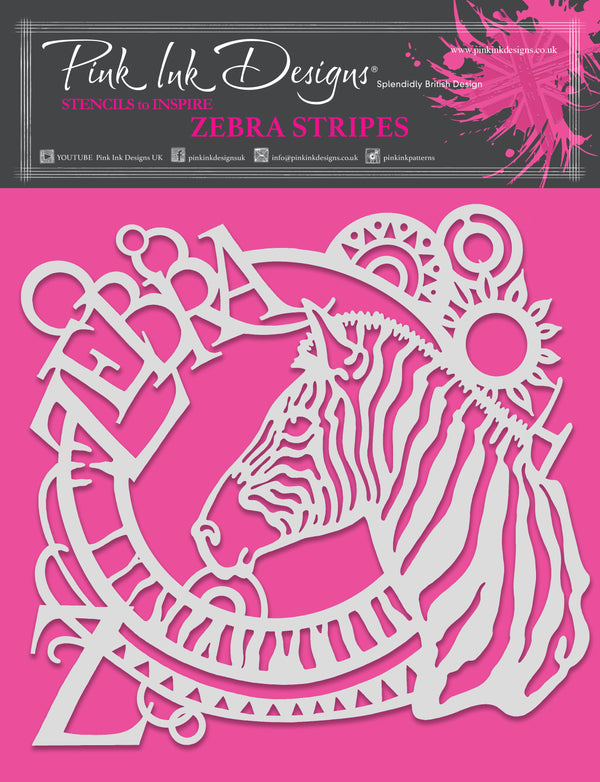 Pink Ink Designs Zebra Stripes 8 in x 8 in Stencil