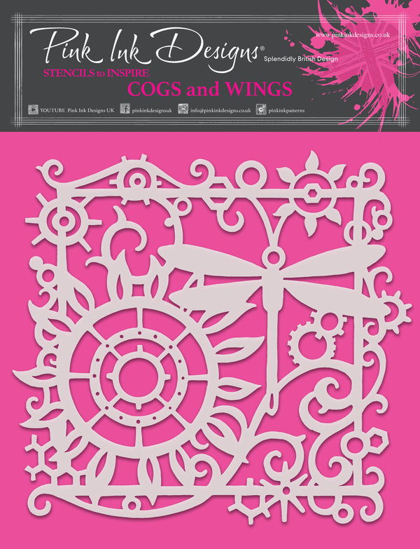 Pink Ink Designs Cogs and Wings 8 in x 8 in Stencil