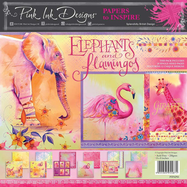 Pink Ink Designs Elephants and Flamingos 8 in x 8 in Paper Pad