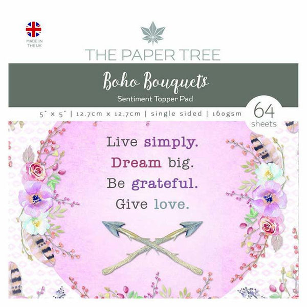 "The Paper Tree Boho Bouquets 5"" x 5"" Sentiment Pad"