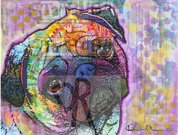 Pug Love Rubber Stamp Dean Russo