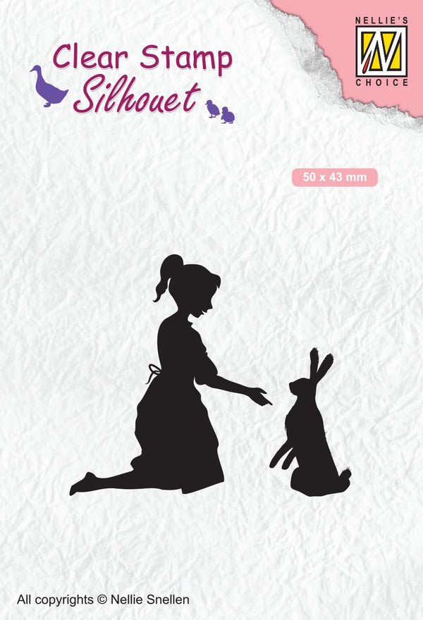 Clear Stamp Silhouette Girl With Hare